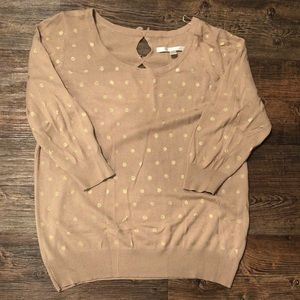 LC Lauren Conrad Beige and Gold Sweater L